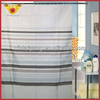 simple Stripe line design polyester bathroom shower curtain / crochet curtains for kitchen