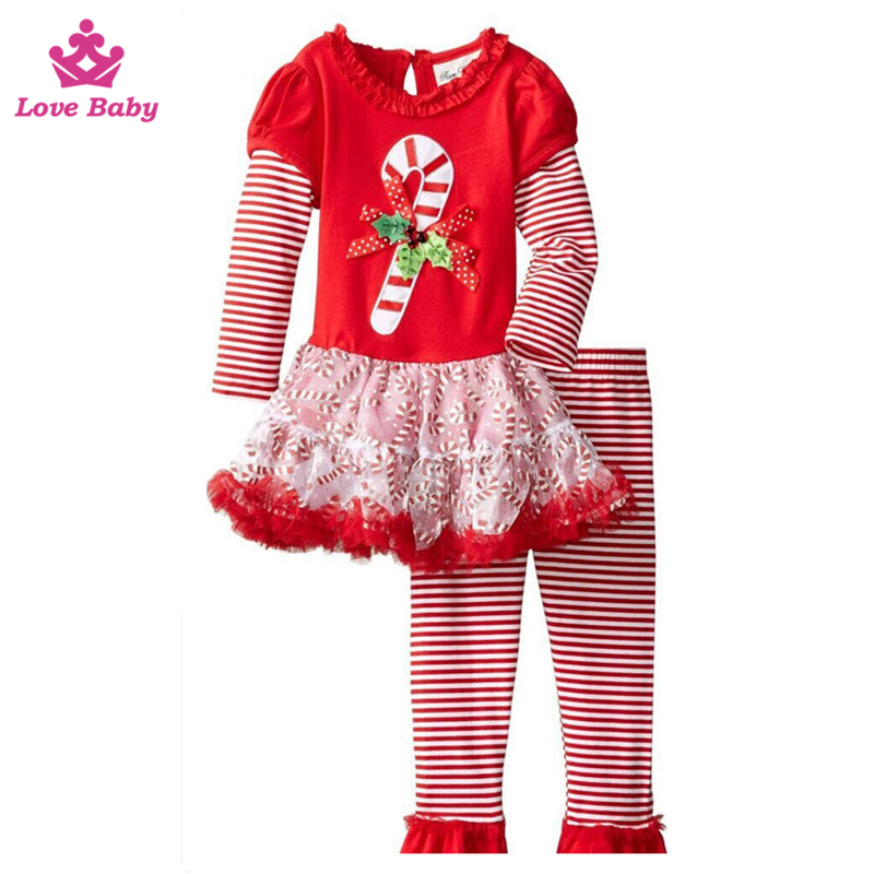 Wholesale Baby Girls Christmas Outfit Skirt Design with Stripes Pants Kids Christams Outfits