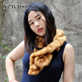 CX-S-83A High Quality Golden Knitted Real Mink Fur Scarf For Woman
