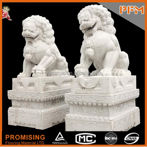 On sale cheap price well polished hand carved Chinese foo dog white marble stone made sculpture