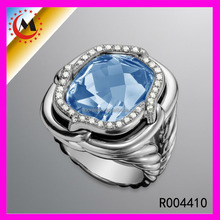 Hot Sale Fashion Copper Plated Blue Sapphire Cz Zircon Ring Blue Sapphire Ring