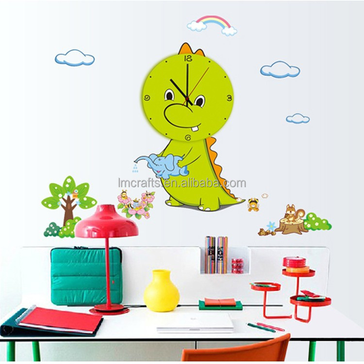 Wall clock stickers cute little dinosaur cartoon animal park removable home decoration bedroom living sofa family MFS-001