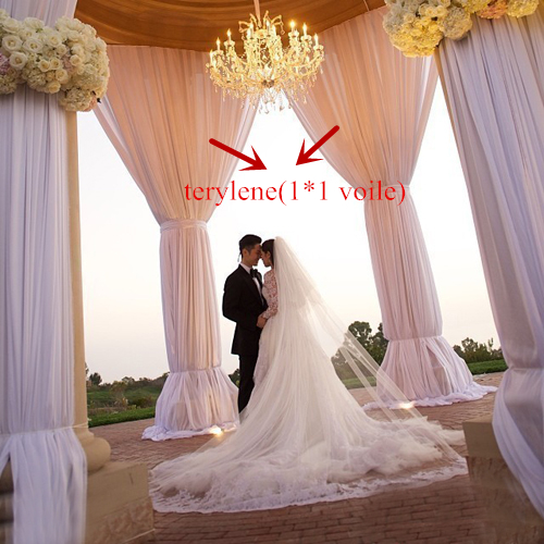 Wholesale fabric Beautiful cheap curtain plain and solid sheer wedding decoration