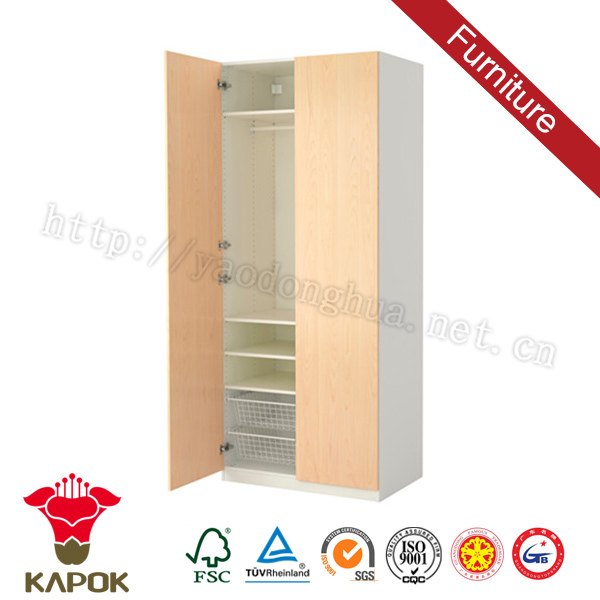 Design wood 2 door brown small bedroom wardrobe design for girls