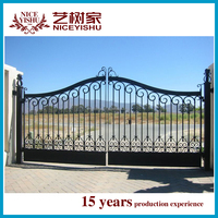 new design exterior luxury outdoor house main iron square tube gate Indian latest alibaba artistic aluminum main gate design