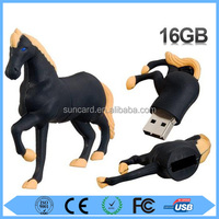 Custom design black trotting horse pattern usb2.0 flash drive with low price