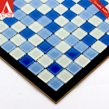 china mosaic factory supply mixed Blue crystal glass mosaic for swimming pool tile