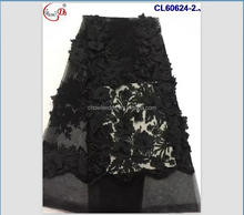Good price different design comfortable french CL60624 3d flower lace embroidered fabric with pearl