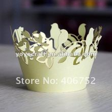 hot sell birds customized decorative personalized laser cut wedding paper unique cupcake holders