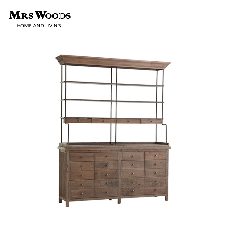 Industrial Reclaimed Wood Large Luxury Sideboard With Drawers and Upper Shelves