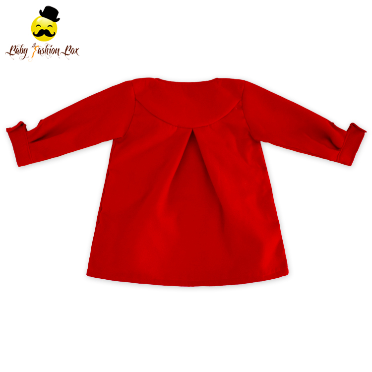 Frock Design Solid Color Cashmere Warm Winter Coat Boutqiue Long Sleeve Kid Custom Jacket