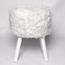 UK market round modern faux fur ottoman footstool with best price