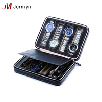 Portable pu leather watch packaging box zipper watch storage bag