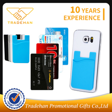 Customized silicone credit card holder pocket for backside cell mobile phone