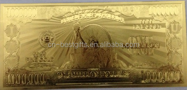 2015 gold foil banknote good quality