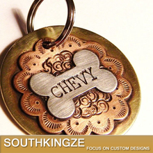 Engraving Copper Dog Tag/Keyring with Bone and Flower Picture