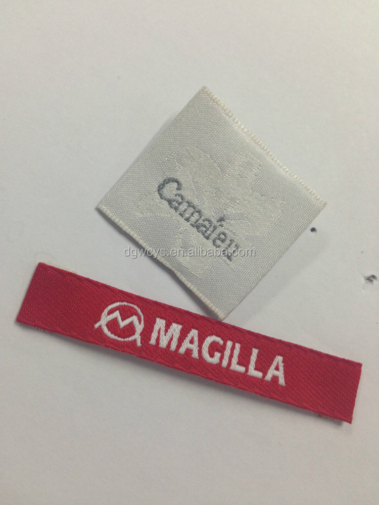 Hot sale die cutting custom taffeta woven labels cheap garment label clothing label