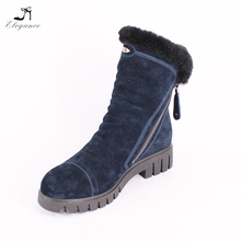 High Quality Russia Style Navy Blue Suede Wool Plush Fur Shaft Snow Winter Durable Western Camo Roman Flats Mid-Calf High Boots