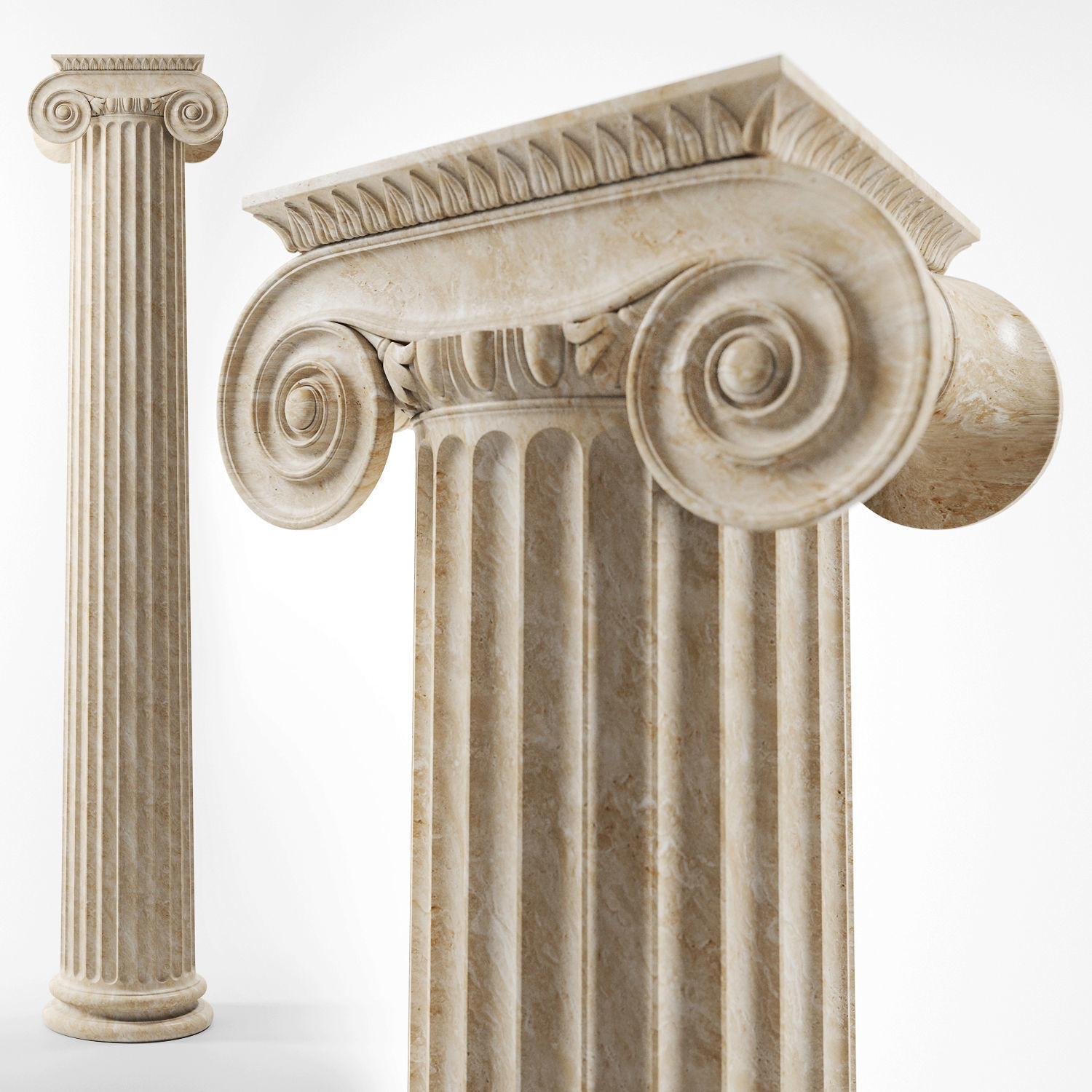Natural marble ionic style hand carving stone pillar