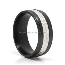 8mm hammered 925 silver inlay black zirconium rings for men german wedding bands