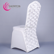 Wholesale fancy cheap rosette universal spandex chair covers wedding decoration white wedding chair covers