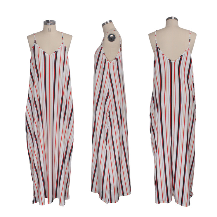 9243 spaghetti strap striped maxi casual plus size sexy dresses