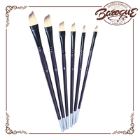 Personalized Artist Painting Brush 6 Pcs Long Wood Handle Brass Tube Flat Short Length Nylon Hair Watercolor Angle Paint Brushes