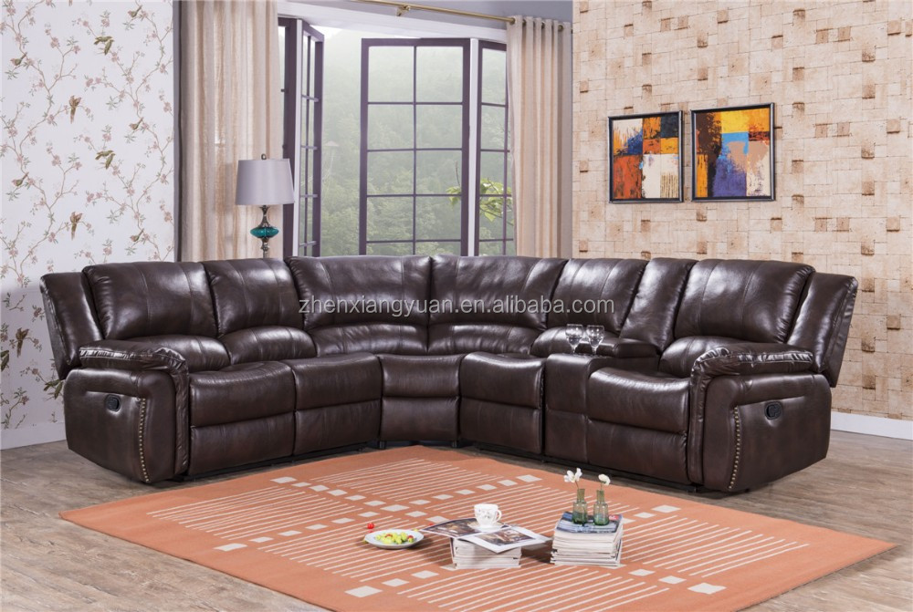 2019 living room furniture recliner corner sofa brown leather luxury ...