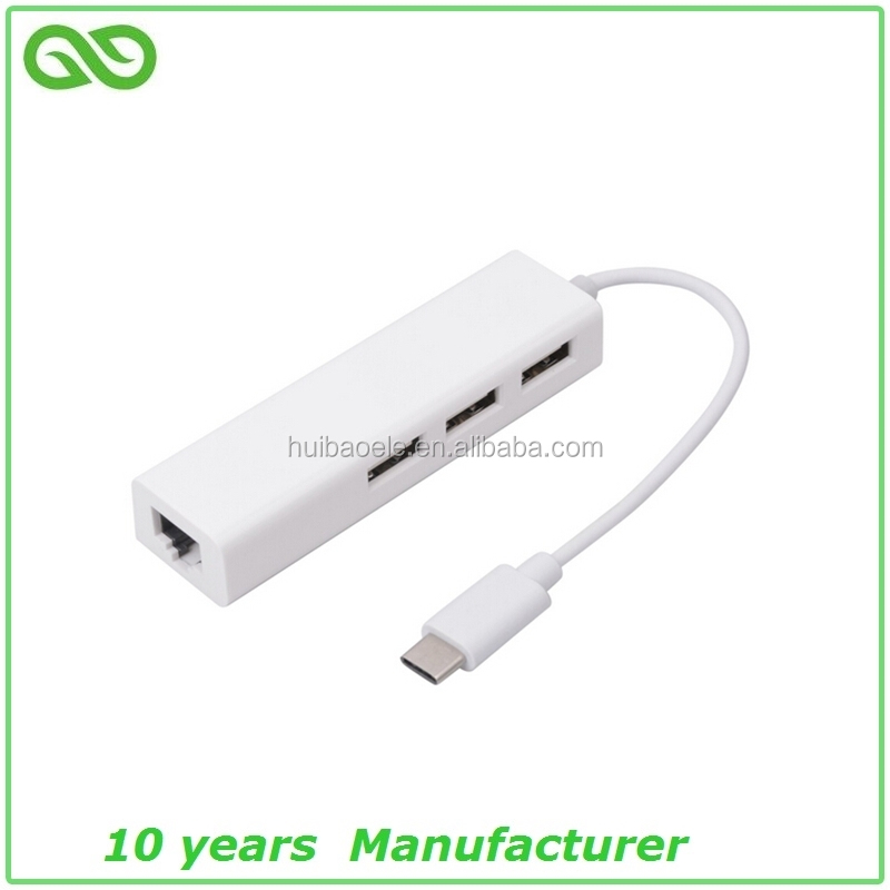 High quality 3 port usb 3.0 usb hub to 1000mbps gigabit ethernet RJ45 lan network type c hub