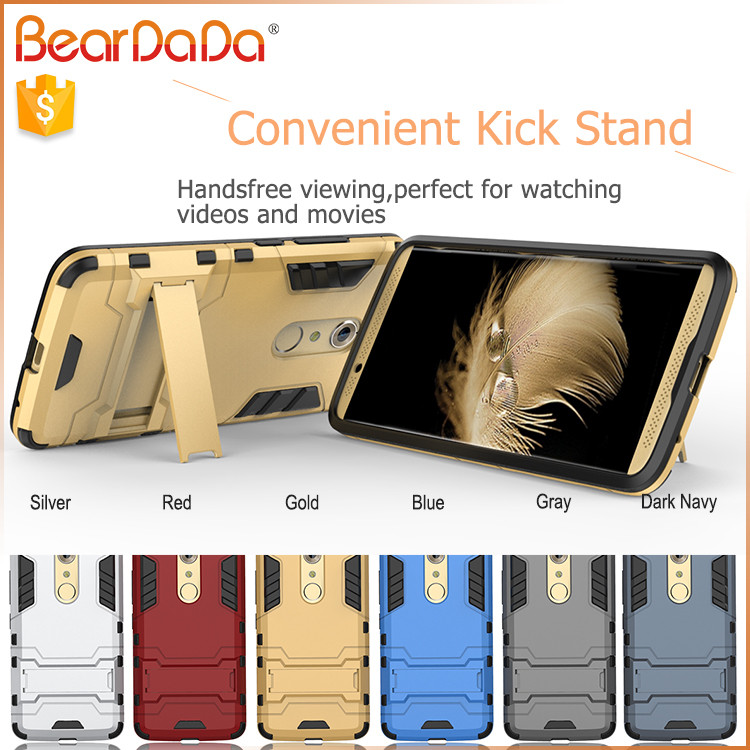 TPU+PC hybrid kickstand phone case cover for zte axon 7