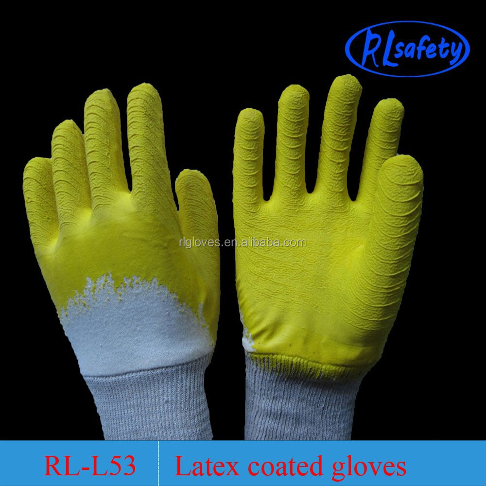 Yellow latex gloves with cotton inside