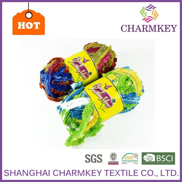 discount acrylic nylon blended yarn in knitting shop