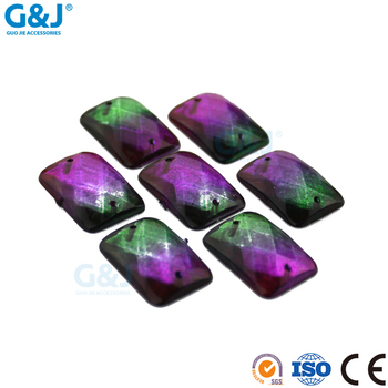 guojie brand wholesale Purple green sew on clothing accessories nail acrylic stone