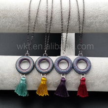 WT-N888 Lovely Round Cubic Zircon Micro Pave Boho Women Jewelry With Soft Assorted Color Tassel Charm Necklace