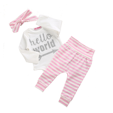 autumn winter infant baby girl clothes sets newborn toddlers hello world print romper with pink striped long pants headband
