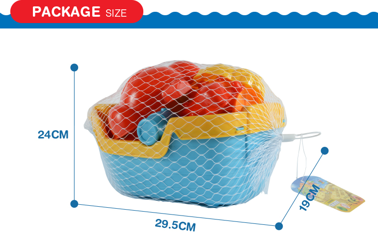 summer 8pcs multi-color value boat plastic material beach toys set for kids