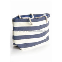 "Oversized Summer Striped Canvas Beach Tote Bag - W5"" D14"" H16"""