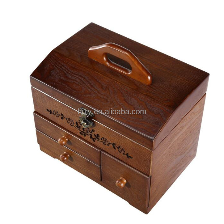 antique wood sewing tools jewelry box with drawers