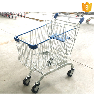 Grocery Store Folding Metal Supermarket Shopping Trolleys Cart With Wheels