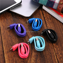 Colorful Candy Short Stype Flat Noodle Micro USB Cable for iPhone, LG