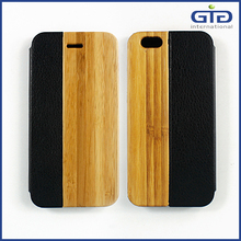 NP-2388 High Quality Wood Case PU Flip Cover for iPhone 6