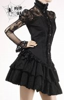 Y-230 PUNK RAVE Gothic Black Long Sleeve Sexy lace ladies' Blouse