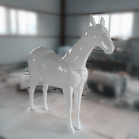 glossy white life size fiberglass horse statue with multi facets