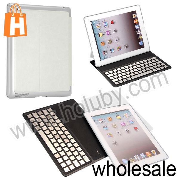 For iPad 2 3 4 Wireless Keyboard,Aluminium Alloy Bluetooth Keyboard+Leather Case for iPad 2 3 4