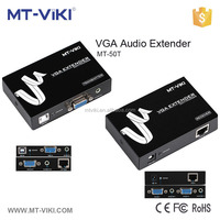 Metal vga utp extender 50m with audio over cat5e/6 cable 2 channels output at receiving end