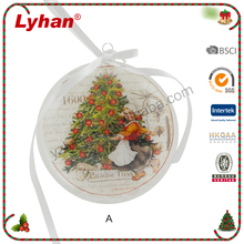 Lyhan Christmas tree ornaments glass flat ball with ribbon bowknot