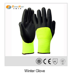 waterproof black foam nitrile winter hand gloves