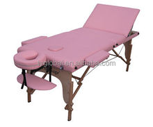 Pink Spa Massage Bed with Carry Bag Wooden Massage Table