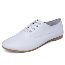 solid simple style lace up waterproof oxford women flat leather casual shoes