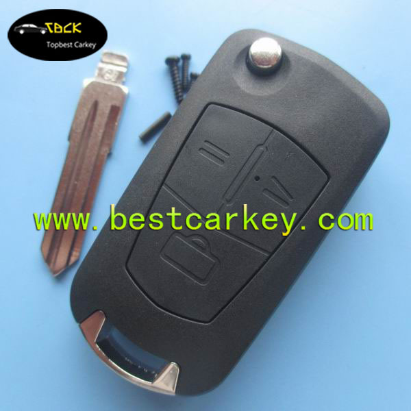 Modified 3 button auto key shell with HU46 blade for ople key replacement opel flip key